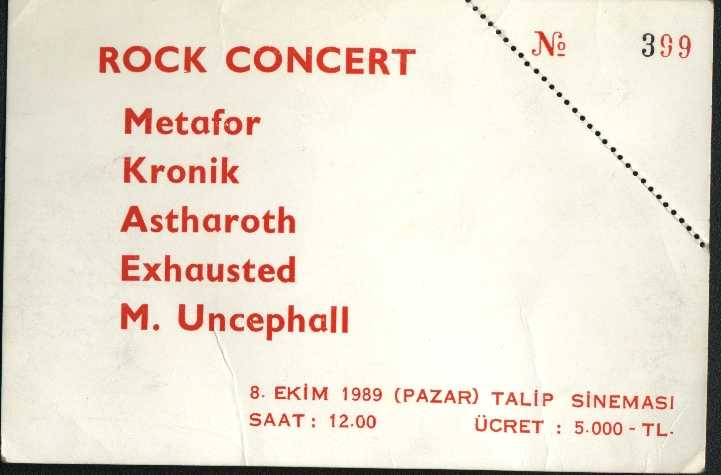 1989-10-08 Kronik, Metafor, Astharoth, Exhausted, M Uncephall